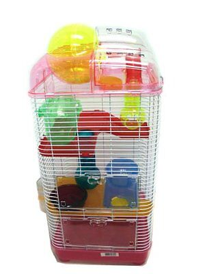 YMLG-H3030PK-YML 3-Level Clear Plastic Dwarf Hamster Mice Cage with Ball on Top