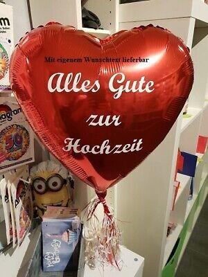 Folienballon Herz 45cm Rot Heliumgefüllt mit eigenem Wunschtext ()