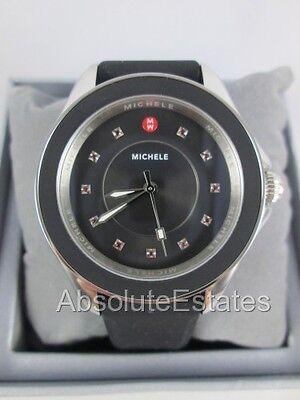 NEW Michele Cape Black Silver Red Topaz Ladies Watch MWW27A000006 NIB + Box