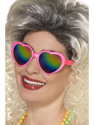 Eighties Fancy Dress Heart Shaped Rainbow Glasses Pink Heart Specs 1980 - 80's - Eighties Glasses