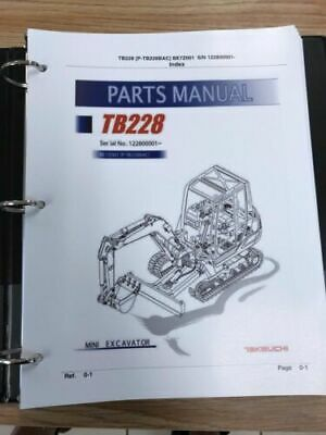Takeuchi Tb228 Parts Manual Sn 122800001 And Up Free Priority Shipping