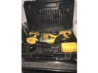 Dwalt 18v Jigsaw & 2 Drills set, with hard case, 3 batteries plus charger