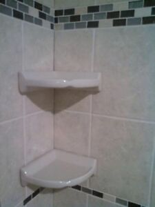 Ceramic corner bath tub shower shelves x 2 White (New)