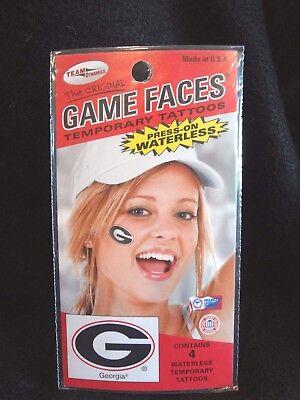 GEORGIA BULLDOGS~GAME FACES~PRESS-ON WATERLESS 4 Pc TEMPORARY TATTOOS~NEW SEALED (Georgia Bulldog Tattoos)