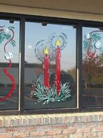 Low Cost Christmas window mural pieces and MORE....