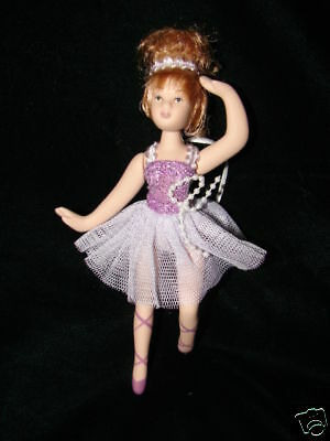 Porcelain Ballerina Doll with purple dress   Christmas Ornament  Gift