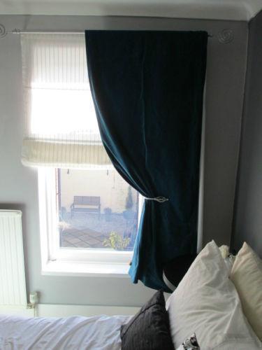 Teal Velvet Curtains Ebay