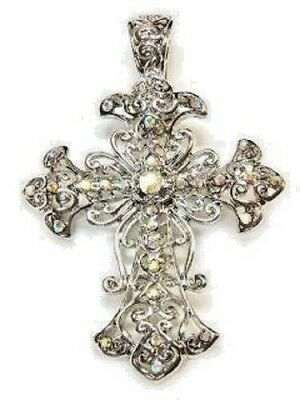 Religious Crystal - Cross, Religious, Aurora Borealis Crystals, Beautiful Christian Pendant #175-C