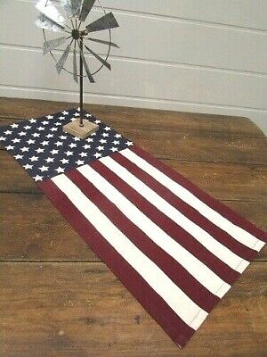 Primitive Country Patriotic Cotton Canvas American Flag Table Runner 32