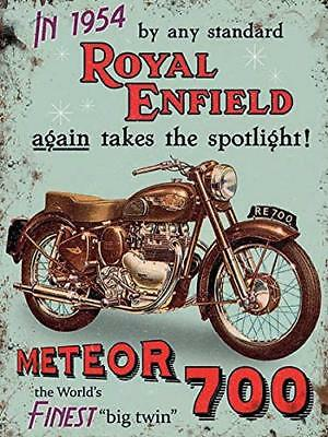 Royal Enfield Meteor 700 Motorcycle small metal sign (og 2015)