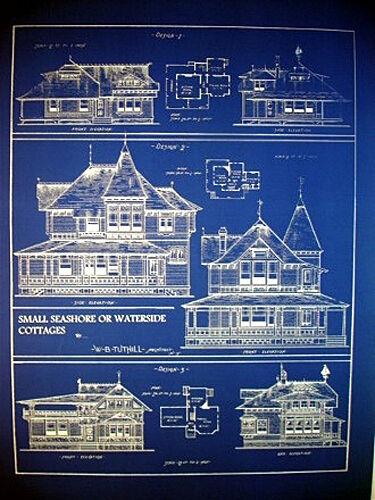 """Vintage House Plans Ocean Front Sea Cottage 1881 Blueprint 24"""" x 32""""   (058)"""