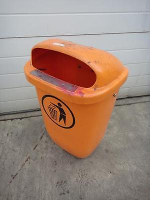 Müllbehälter, Abfallbehälter, 50 Liter Abfallsammelbehälter, Orange + Halterung