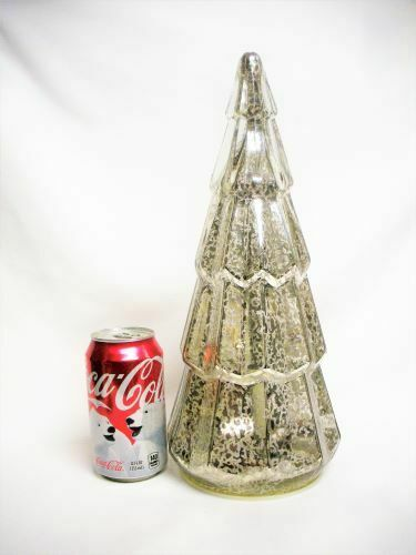 "14"" Tall Mercury Silver Glass Christmas Tree Internal Light Works Holiday Decor"