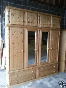 HAND MADE LARGE PINE TRIPLE QUAD 4 DRAWER WARDROBE +TOP BOX READY ASSEMBLED