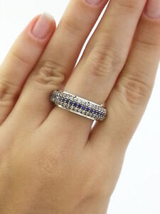 925 Sterling Silver Sapphire Band Ring Size 9