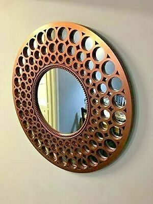 Copper round mirror beaded art deco style metallic Copper mirror 63cm Diameter