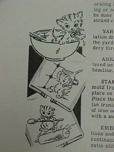 Vintage Transfer Pattern Precious Kitty Cat DOW 40s Embroidery Mail Order