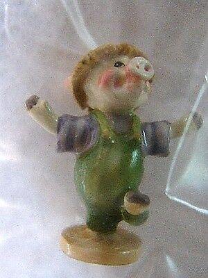 - Goebel Olszewski miniature Storybook Lane THREE LITTLE PIGS Little Straw Pig NEW