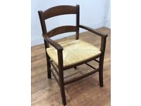Job Lot 4 Heavy Duty Solid Wood Wicker Chunky Restaurant Bistro Dining Arm Chair