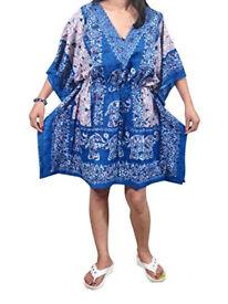Womens Dashiki Kaftan Blue Printed Boho Hippie Tunic Top Lounger One Size