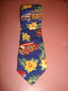 Surfer Woody Tie Men's  Necktie  - Made in France