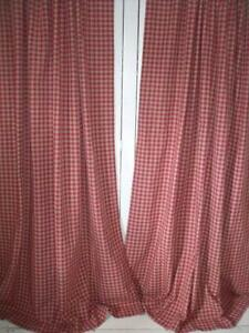 Decorative Double Curtain Rods Pink Gingham Sofa