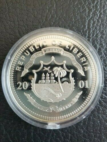 2001 Republic of Liberia Approx. 1.6 in .999 Fine Silver $20 Proof Coin