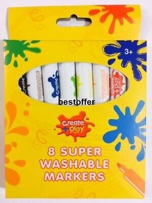 8 x Washable Non Toxic Felt Tip Markers Color Drawing Kids Art Crafts Fun