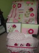 Pink and Green Crib Bedding