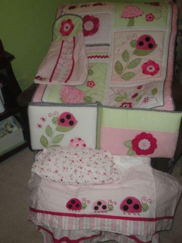 Pink And Green Crib Bedding Ebay
