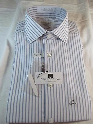 Nwt Collection By Michael Strahan Dress Shirt  Reg  Fit  Blue White Stripe