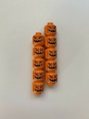 LEGO - 10x Pumpkin Heads Halloween - Jack O' Lantern Patch Orange Minifigure Hay