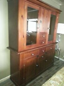 .SOLID WOOD, DISPLAY CABINET. TWO PARTS