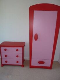 Ikea red and pink wardrobe and drawers