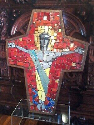 LARGE VINTAGE OOAK VENETIAN MOSAIC PRIESTS ALTAR TABLE CHURCH CRUCIFIX