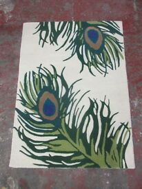 CHEZ-TOI - IVORY PEACOCK RUG - 120 x 170 cm - 100% WOOL - BRAND NEW ONLY £30