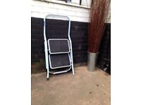 NEW *STEP LADDERS* Foldable Steps Non-Slip Treads Safety Strong Sturdy Steel