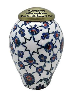 Blue Floral Enamel Cremation Urn, Memorial Adult Human Urn with Personalization