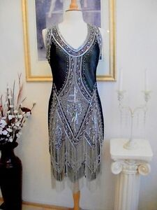 1920s-Style-GREAT-GATSBY-Black-Silver-BEADED-FLAPPER-Dress-XS-S-M-L-XL-or-2X