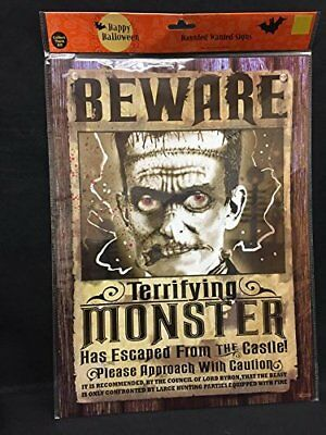 Terrifying Halloween Decorations (Halloween Haunted Beware Terrifying Monster Sign Party Decoration)