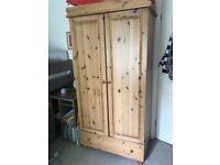 pine wardrobe with draw