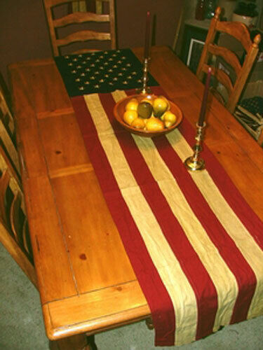 "American Flag Runner - Tea-stained flag runner - 20"" x 90"" A"