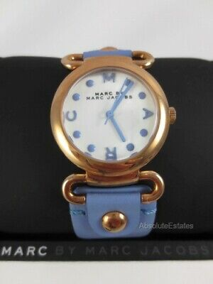 NEW Marc Jacobs Small Molly River Rose Gold Blue Purple Leather Watch MBM1307