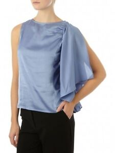 Pied-A-Terre-House-of-Fraser-RRP-55-Sky-Blue-Frill-Sleeve-Top-Shirt-Fast-Ship
