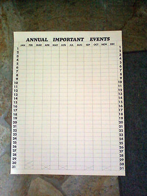 Perpetual Calendar with a Twist-  For ANNUAL IMPORTANT EVENTS  -See DETAILS