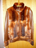 Lamb leather jacket with rabbit fur