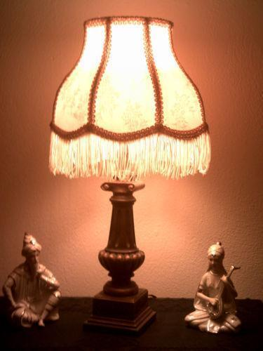 Vintage fringe lamp shade ebay for Antique floor lamp with fringed shade