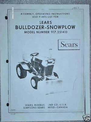 917.251410-sears Tractor-dozersnow Blade Owners Manual On Cd