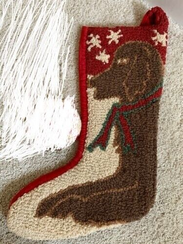 Chandler 4 Corners hooked wool brown dog Christmas stocking