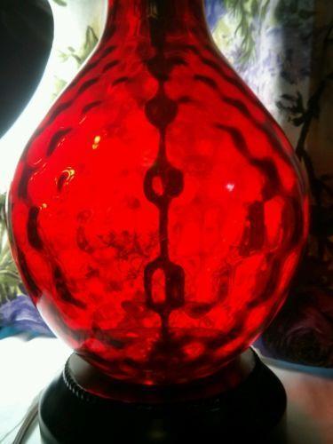 Vintage Red Glass Lamp Ebay
